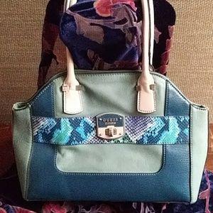 Guess handbag blue, teal, pink